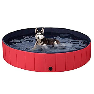 Foldable Dog Pet Bath Pool Collapsible Large Pool Bathing Swimming Tub Kiddie Pool for Dogs Cats and Kids Red 63''