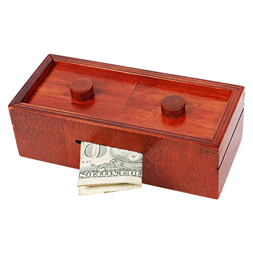 ATDAWN Puzzle Gift Case Box, Secret Puzzle Box with Hidden Compartments, Wooden Money and Gift Card Holder Box, Challenge Puzzles Brain Teasers Game
