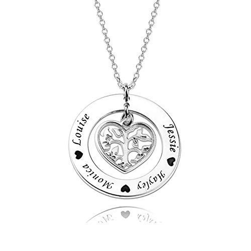 LONAGO 925 Sterling Silver Personalised Tree of Life Necklace Custom Name Heart Shaped Family Tree Pendant Necklace Jewelry (white-gold-plated-silver)