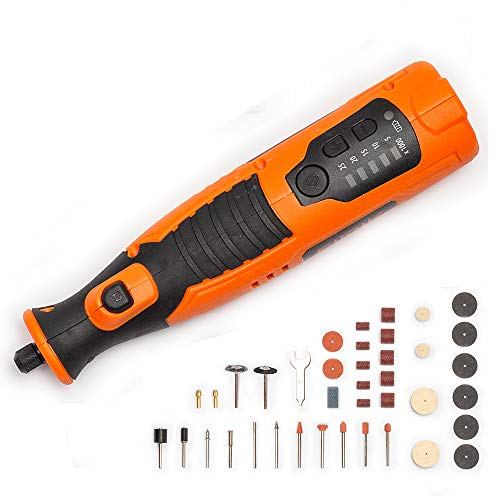 Cordless Rotary Tool, 8V Li-ion CRT324-BS Mini Rotary Multi-Tool Kit with 5 Variable Speed, 4 Front LED Lights, 40pcs Accessories Kit for Carving, Engraving, Cutting and Polishing