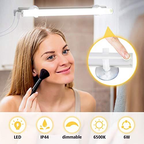KOHREE LED Schminklicht für Spiegel Schminklampe Schminkleuchte USB 6500K 6W Dimmbar Spiegellampe Schminktisch mirror light make up, LED Spiegelleuchte Schminklicht Schrankleuchte Tageslichtlampe Weiß