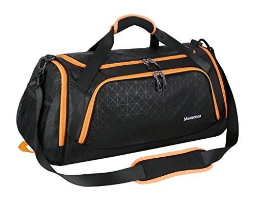 Sports Duffel Bag Gym Bag Travel Duffle for Men and Women with Shoes Compartment - Mouteenoo (One Size, Black/Orange)