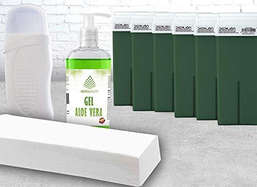 Kit depilación Cera Roll On con 6 cartuchos de 100ml Aloe/Calentador Roll On/Crema Aloe/Bandas depilatorias/Alta calidad/Roll-on Cera para depilación