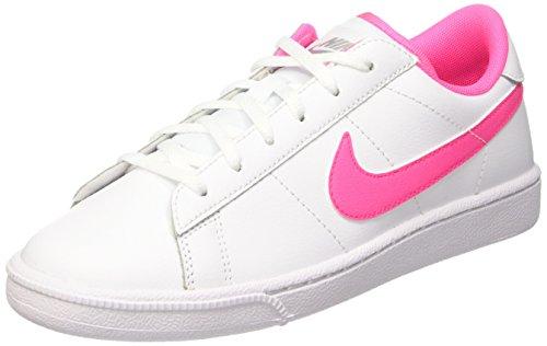 Nike Mädchen Tennis Classic (GS) Tennisschuhe, Weiß/Rosa/Grau (White/Pink Pow-Wolf Grey), 38 1/2 EU