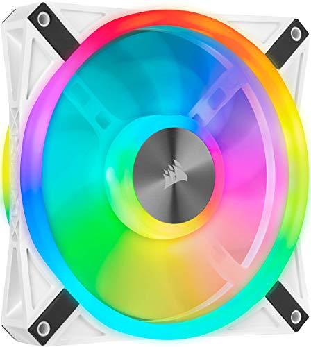 Corsair iCUE QL140 RGB, Ventilador LED RGB de 140 mm, 34 LED RGB Direccionables Individualmente, De Hasta 1250 RPM, Silencioso, Amortiguadores Antivibraciones, Paquete Individual, Blanco