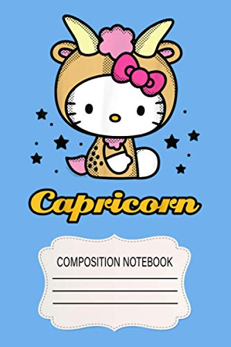 Hello Kitty Zodiac Capricorn UY Notebook: 120 Wide Lined Pages - 6' x 9' - College Ruled Journal Book, Planner, Diary for Women, Men, Teens, and Children
