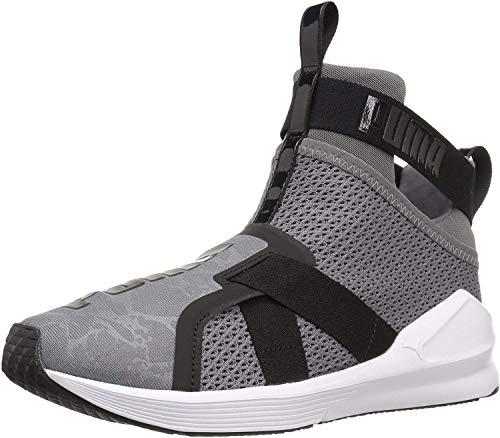 PUMA Women's Fierce Strap WN's Cross-Trainer Shoe, Quiet Shade White Black, 6.5 M US