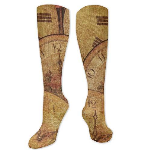 Calcetines de poliéster y algodón por encima de la rodilla, retro, unisex, para muslo, cosplay, botas largas, para deportes, gimnasio, yoga, descarga, viejos relojes, pintura