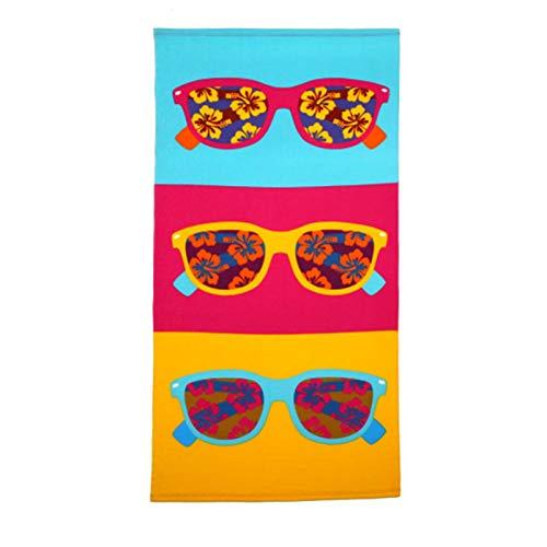 Toallas de Playa Antiarena de Microfibra 70x140cm Gafas de Sol de Colores de Dibujos Animados Fuerte Absorción de Aguat Súper Blando y Secado Rápido, para Deportes, Viajes, Natación, Playa