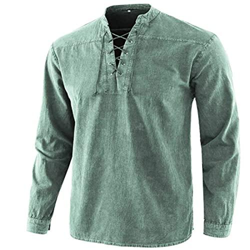 Camisas Informales para Hombre Moda Retro con Cordones Cómodo Todo fósforo Básico Cuello Alto Camisa Suelta Informal de Manga Larga 5XL