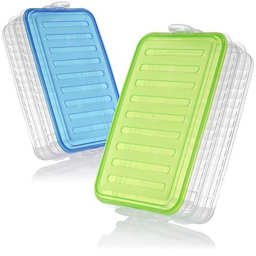 COM-FOUR® 2x fiambrera con dos compartimentos separados - fiambrera - fiambrera para llevar - tarros de almacenamiento - 23 x 15 x 7 cm (azul + verde)