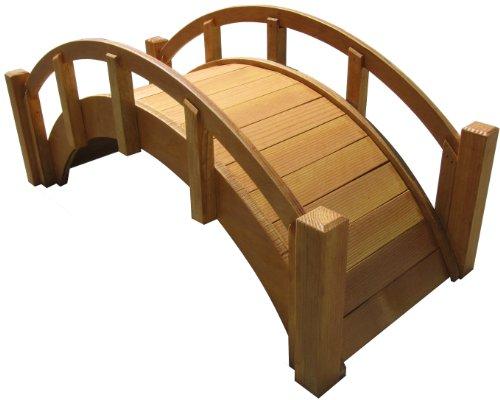 SamsGazebos™ Miniature Japanese Waterproofed Wood Garden Bridge, 25-Inch, Tan