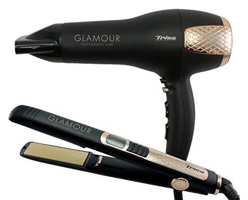 Trisa Electronics 1039.0112 Beauty Set Oro plancha para el pelo, color negro