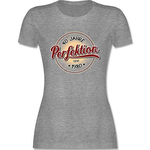 Geburtstag - 40 Jahre Perfektion seit 1980 - L - Grau meliert - Geschenk zum 40 Geburtstag - L191 - Tailliertes Tshirt für Damen und Frauen T-Shirt