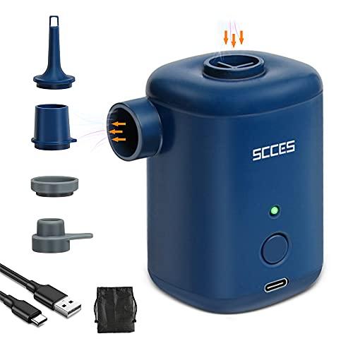 Elektrische pumpe, SCCES Mini Elektrische luftpumpe, Wiederaufladbare Elektrische pump, Inflator und Kompressor 2 in 1, 4 Luftdüse für Schlauchboot Luftmatratze Kinderpool, USB Auto luftpumpe, 3000mAH