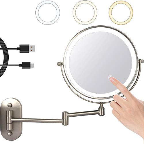 ZEPHBRA Espejo de Maquillaje con Luz LED 1X/5X Aumento Espejos de Aumento de Pared de Doble Cara Giratorio Espejos Extensibles para Baño y Tocador (Níquel Alimentado por USB)