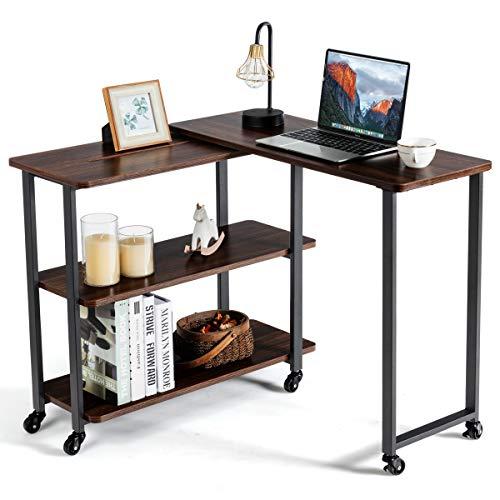 COSTWAY L-förmiger Computertisch mit Rollen, industrieller Eckschreibtisch, Bewegliche Bürotisch, Schreibtisch Beistelltisch