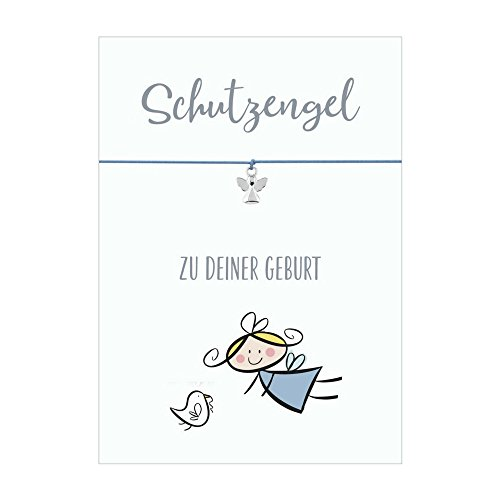 Glücksschmiedin Schutzengel ZUR Geburt Armband mit Anhänger Schutzengel versilbert, elastischem Textilband in hellblau und liebevoller Karte