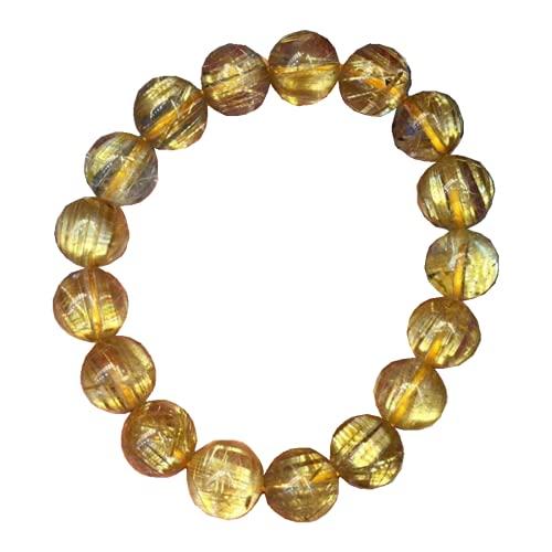 Pulsera de cuarzo de titanio rutilado de oro natural de 12 mm para hombres y mujeres, cuentas redondas de cristal elástico, certificado AAAAAA