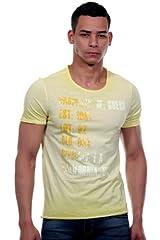 GUESS Camiseta de Cuello Redondo Efecto DEVALE Color Amarillo para Hombre