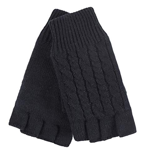 HEAT HOLDERS - Ladies Cable Knitted Winter Thermal Fingerless Gloves (One...