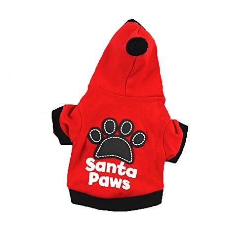 Ropa Perro Pequeño Invierno Sudadera con Capucha para Yorkshire Chiguagua Mascotas Perrito Gato Sanata Paws Abrigos Jersey