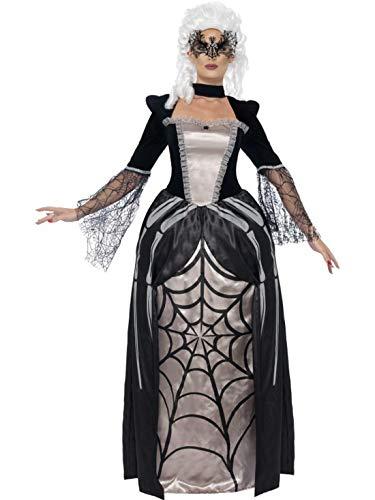 erdbeerclown - Damen Frauen Kostüm barockes Spinnen Kleid im Schwarze Witwe Stil, Baroness Black Widow in Spider Print, perfekt für Halloween Karneval und Fasching, L, Schwarz