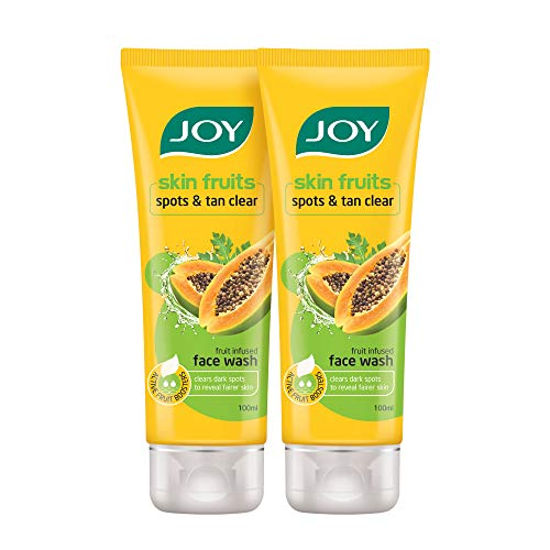 Joy Skin Fruits Spots & Tan Clear Face Wash   With real Papaya extracts & Active Fruit Boosters   Exfoliates and De-tans skin   Papaya Face Wash For Normal to Dry Skin   Pack of 2 X 100 ml