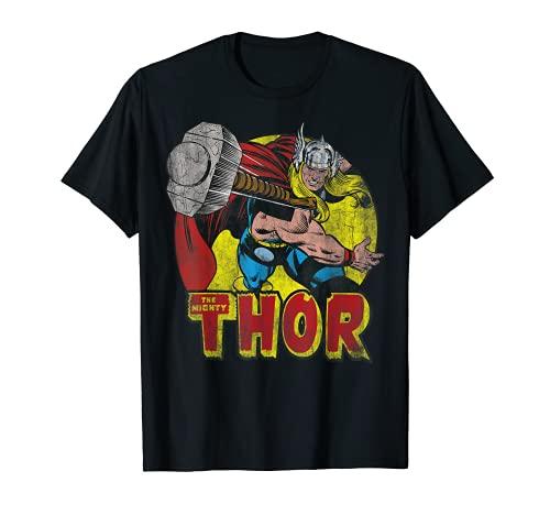 Marvel Mighty Thor Hammer Throw Vintage Camiseta