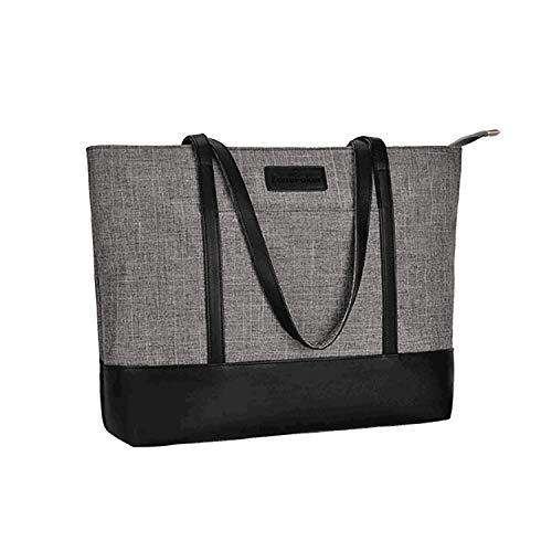 Laptop Tote Bag, Fits 15.6Inch Laptop, Womens Lightweight Water Resistant Nylon Tote Shoulder Bag Teacher Bag(Gray+Black)