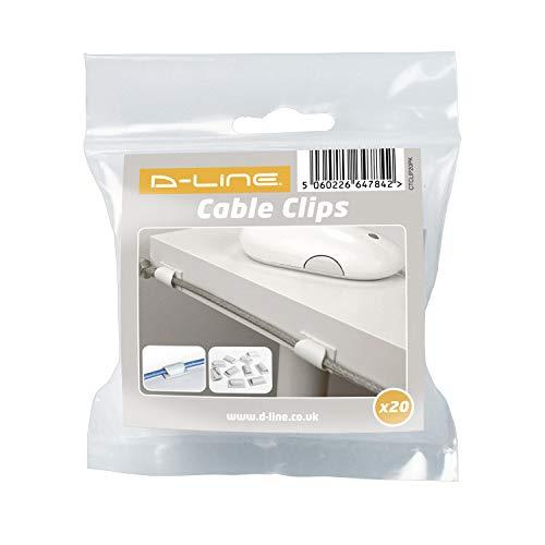 D-Line CTCLIP20PK | Clips para organizar cables - Paquete de 20, Blanco