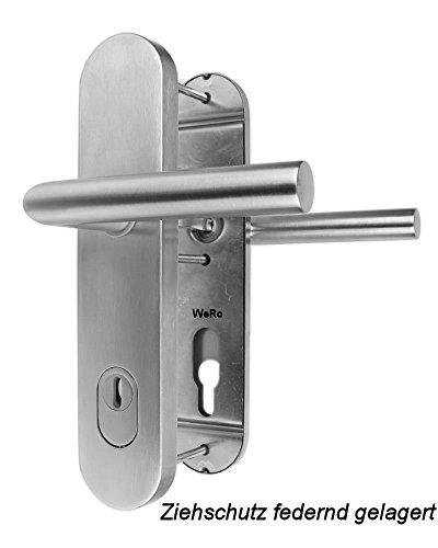 Edelstahl Schutzbeschlag für Haustüren ES 1 Drücker / Drücker mit Zylinderabdeckung