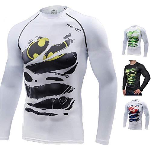 Khroom T-Shirt de Compression de Super-héros pour Homme   Vêtement Sportif à Séchage Rapide pour Fitness, Gym, Course, Musculation   Matériel Extensible et Ventilé Anti Transpiration (Batman, XXL)
