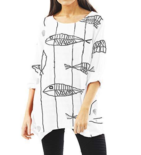 Lagenlook ryba nadruk bawełniana tunika top sukienka damska biała czerwona czarna różowa koszula sukienka lniane topy bluzki sukienki plus size Q18 Celebmodelook