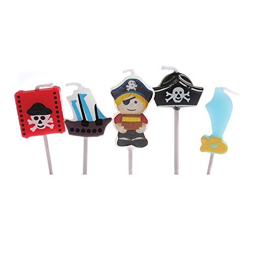 5* PIRATEN * Mini Candles on Wooden Holders for Childrens Birthday Parties Gift and Candles Cake Decorative Candle Pirates Pirate Ship Skull Gold Treasure