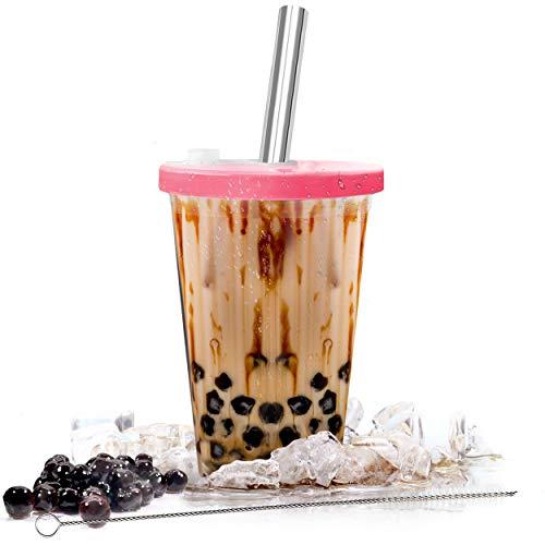 Boba-Becher wiederverwendbar für Bubble Tea und Boba Tee   500 ml   doppelwandig isoliert & auslaufsicher   Boba Tapioca Perlen   rosa Oberseite mit Edelstahl-Strohhalm