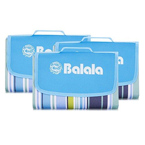 Balala Picknickdecke 80 x 150cm Outdoor wasserdichte Picknickdecke Große klappbare Rasendecke Stranddecke wärmedämmungen, Strand, Wandern und Camping mit Tragegriff Blau Streifen