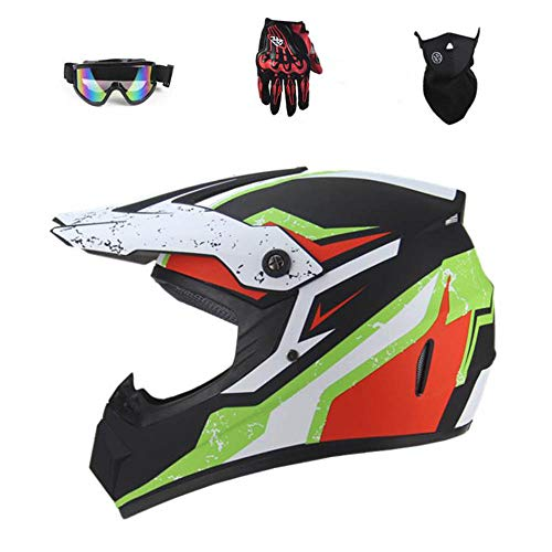 CYSJX Casco completo para motocross todoterreno, quad Crash, ECE Downhill Dirt Bike MX ATV para adultos, guantes de casco de motocicleta, gafas, juego de 4 piezas (S-XL), Mattblack01-M