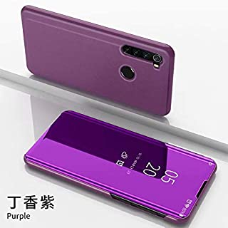 Smfu Cover Xiaomi Mi Pocophone F1,Case Mirror Design Clear View Ultra Slim Electroplate Standing Case + Tempered Glass Film 2 Pieces 360° Protective Flip Mirror for Xiaomi Mi Pocophone F1 -Purple