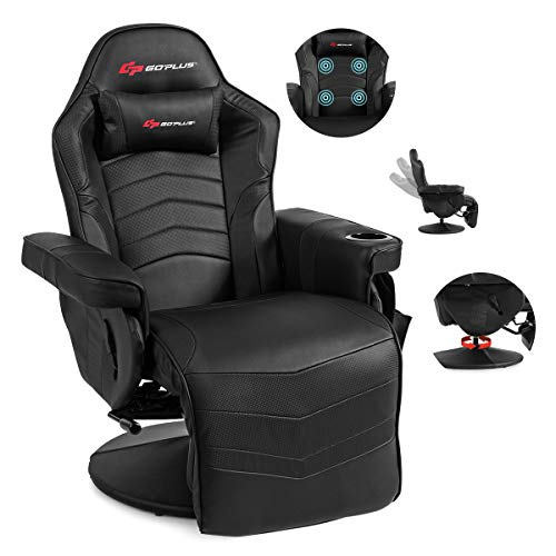 POWERSTONE Gaming Recliner Massage Sofa Ergonomic PU Leather Gaming Chair with Footrest Cup Holder Headrest and Side Pouch, Living Room Chair Home Theater Seating (Black)