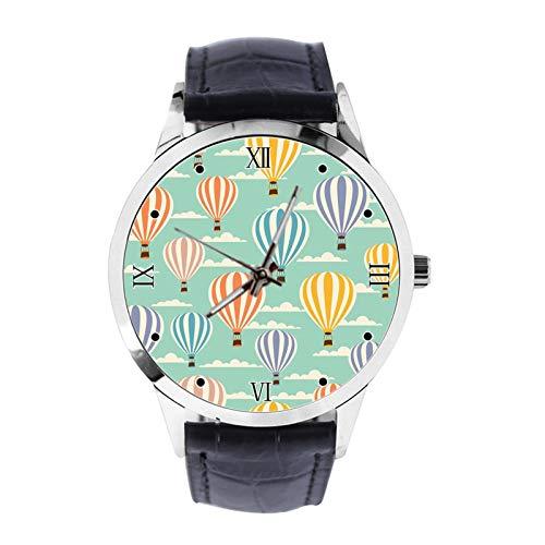 Retro Reise Luftballons Custom Armbanduhr Unisex Analog Quarz Uhr mit Lederband Uhren für Mädchen Jungen Armbanduhr