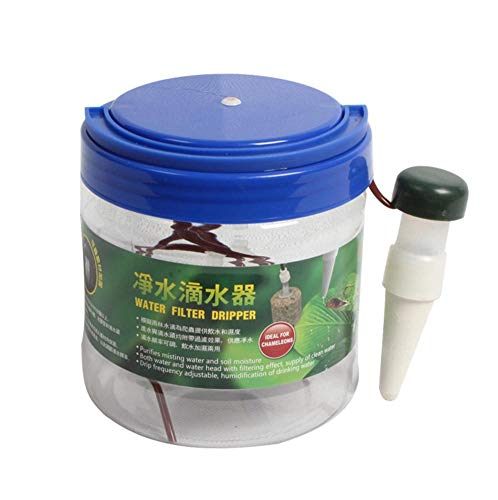 dianhai306 1300 ml Filtro de Agua Potable para Mascotas Sistema de Goteo Humidificador Humidificador de Caja de Reptiles Flor Riego automático Planta Regadera Waterer Net gotero
