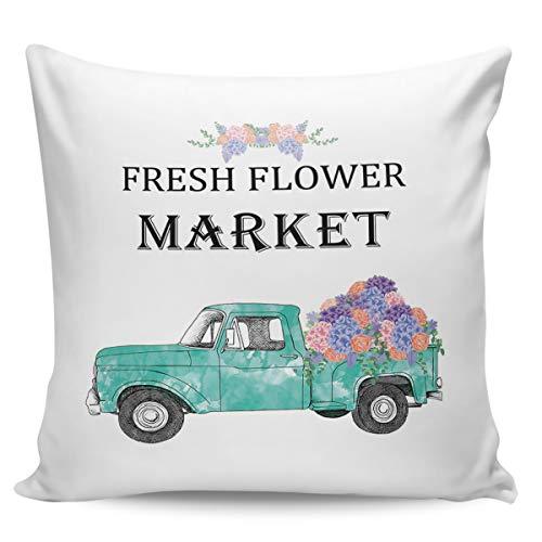 Fundas de almohada de 45,72 x 45,72 cm, diseño de camión cian de primavera fresca hortensias frescas, mercado de flores frescas, fundas de cojín cuadradas para decoración del hogar