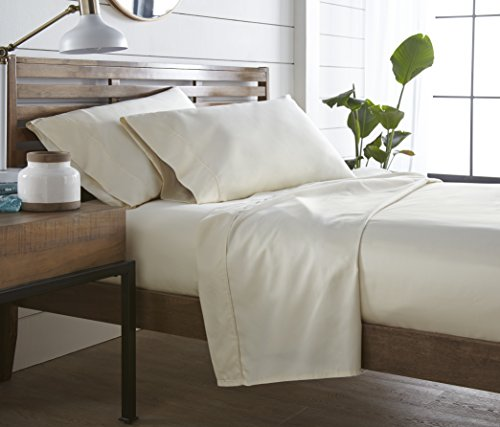 Westbrooke Linen Queen Bed Sheets - 100% Natural Cotton 400 Thread Count, 4 Piece Sateen Weave Sheet Set, Comfortable & Stylish Solid Ivory Sheets, 16 Inch Deep Pocket Fitted Sheet, Oeko-Tex Certified