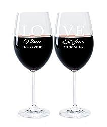 LEONARDO FORYOU24 2 Weingläser mit Gravur des Namens und Motiv Love Wein-Glas graviert Hochzeit Geschenkidee