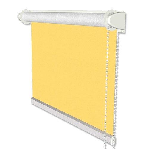 INTERDECO Verdunkelungsrollo/Thermo Rollo, Gelb BxH 41,5 x 175 cm, Klemmfix Rollos ohne Bohren, Seitenzugrollos mit Silberbeschichtung