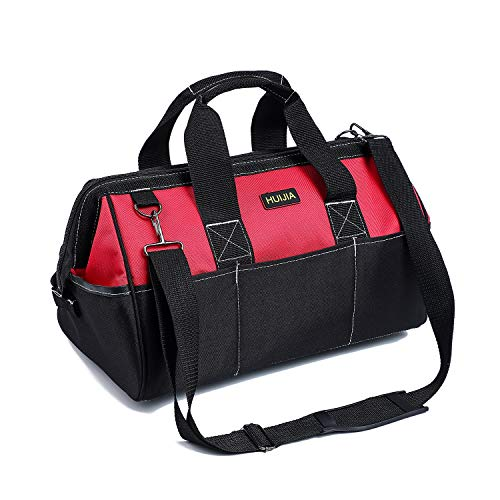 HUIJIA Heavy Duty Tool Bag, Large Tools Storage Bag, Organiser for Hand/Power Tools, with Shoulder Strap, Zip-Top & Wear-Resistant Rubber Base, 600D Canvas, Black (L:45×20×28cm)