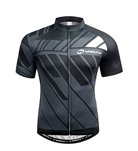 sponeed Men's Bike Jersey Cyclist Tops Bicycle Shirt Quick Dry Full Zip Shirts Breathable US L Gray Multi