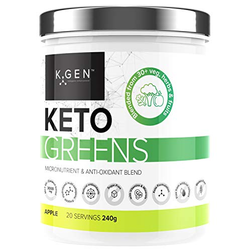 K-GEN Keto Greens (Collagen) | Superfood Micronutrient & Anti-oxidant Blend | Multi-Collagen & MCT's with 30+ Veg, Herbs & Fruits | Immune, Health & Fat Loss (Apple)