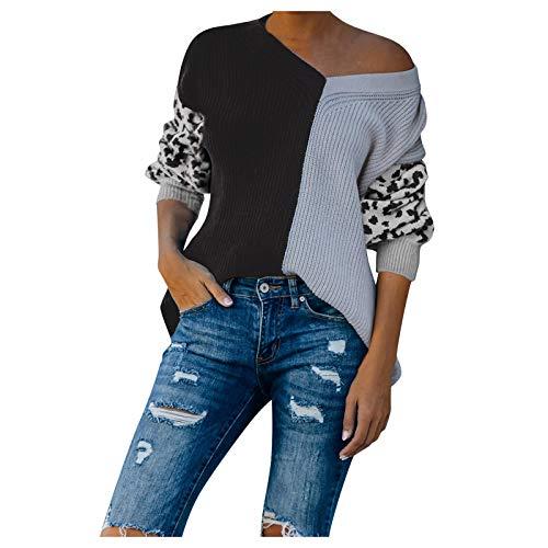 FELZ Suéter de Mujer Blusa de Punto con Estampado de Leopardo y Cuello de Pico Sexy Camiseta con Costuras de...